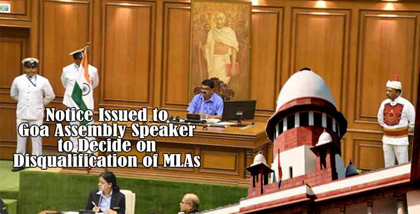 Notice Issued to Goa Assembly Speaker