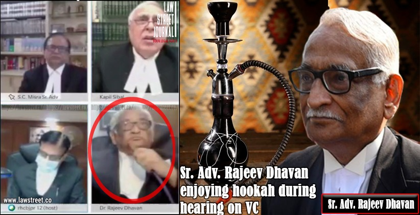 Lack of Professionalism or Thug Life:  Senior advocate Rajeev Dhavan smokes hookah during a virtual hearing of Rajasthan HC
