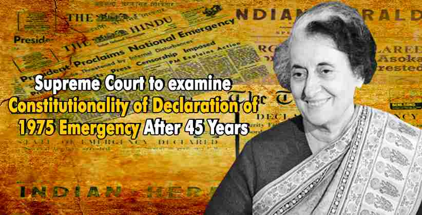 Breaking: Supreme Court to examine Constitutionality of Declaration of 1975 Emergency After 45 Years
