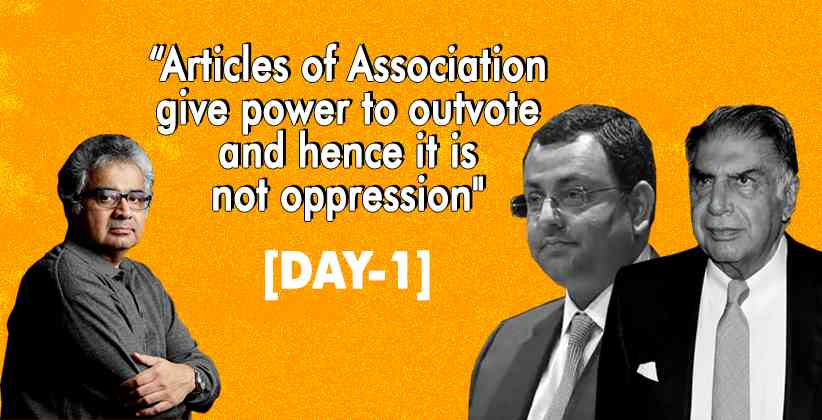 """[DAY1] """"Articles of Association give power to outvote and hence it is not oppression"""": Harish Salve in Tata Mistry Case"""