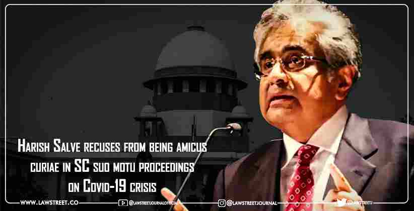 Harish Salve recuses from being amicus curiae in Supreme Court suo motu proceedings on Covid-19 crisis