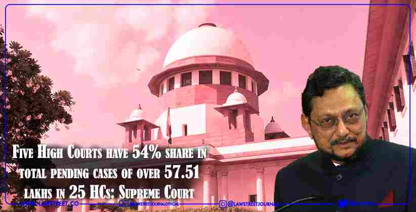 Five High Courts have 54% share in total pending cases of over 57.51 lakhs in 25 HCs: Supreme Court